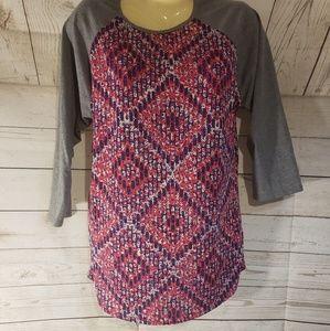 LuLaRoe Multi Color 3/4 Sleeve Top